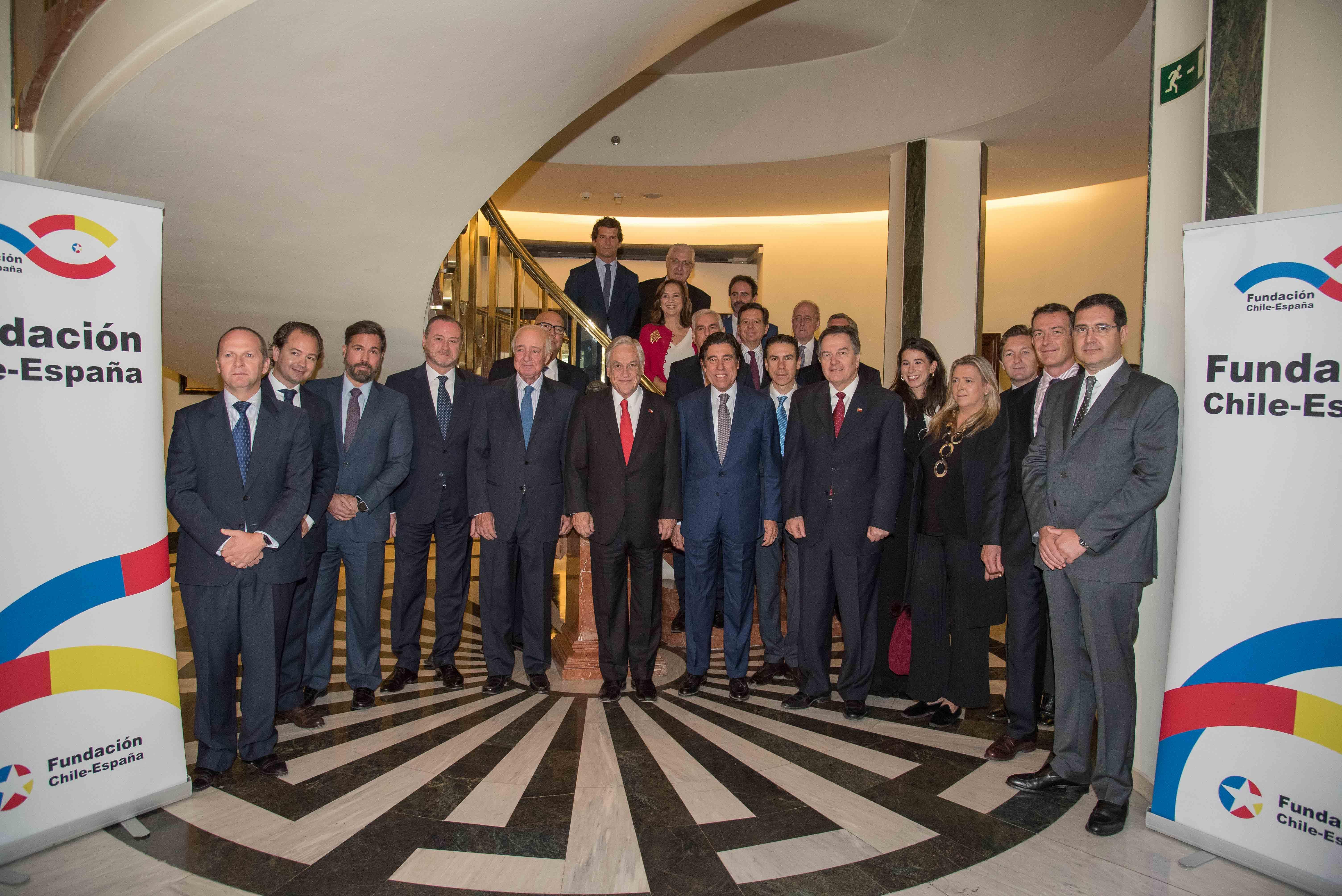 El presidente de Chile, Sebastián Piñera, estuvo con los Patronos y colaboradores de la Fundación Chile-España durante su gira por Europa